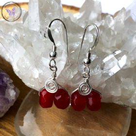 Silver Wire Wrapped Red Ruby Earrings